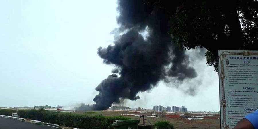 Goa airport fire, fire, smoke