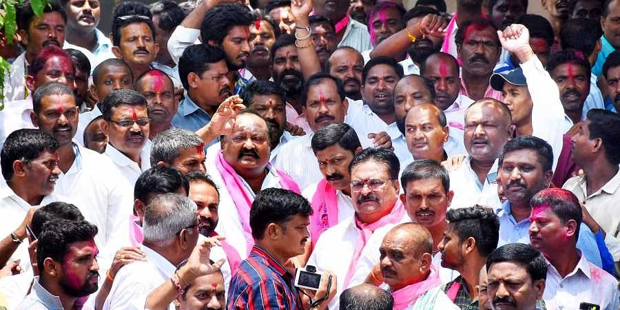 TRS party supporters celebrates ZPTC and MPTC election results in Karimnagar on Tuesday.