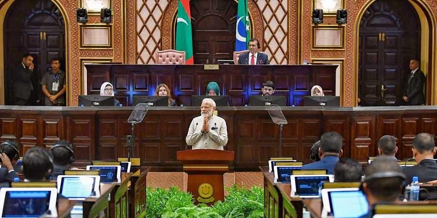 Prime Minister Narendra Modi addresses the Majlis the Parliament of Maldives at Male in Maldives on 8 June 2019. (Photo   PIB)