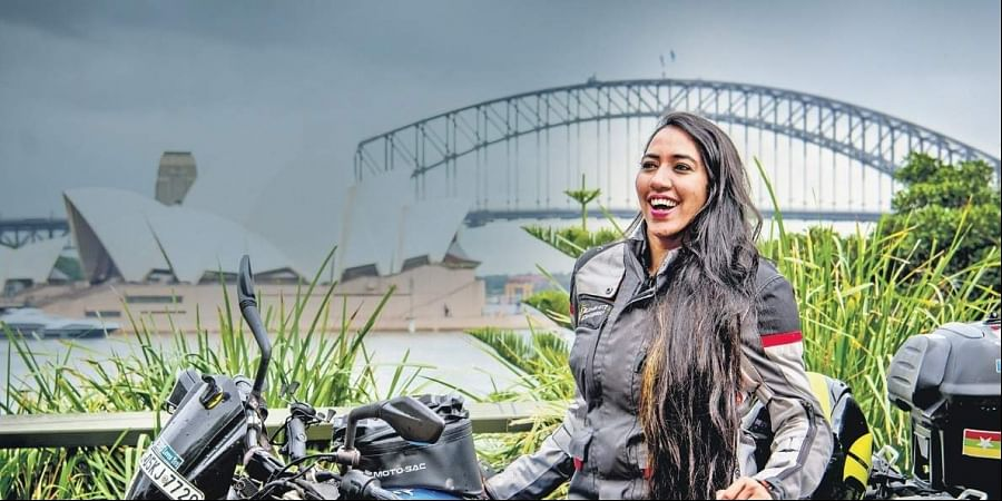 Candida Louis rode from Bengaluru to Sydney on her Bajaj Dominar bike.