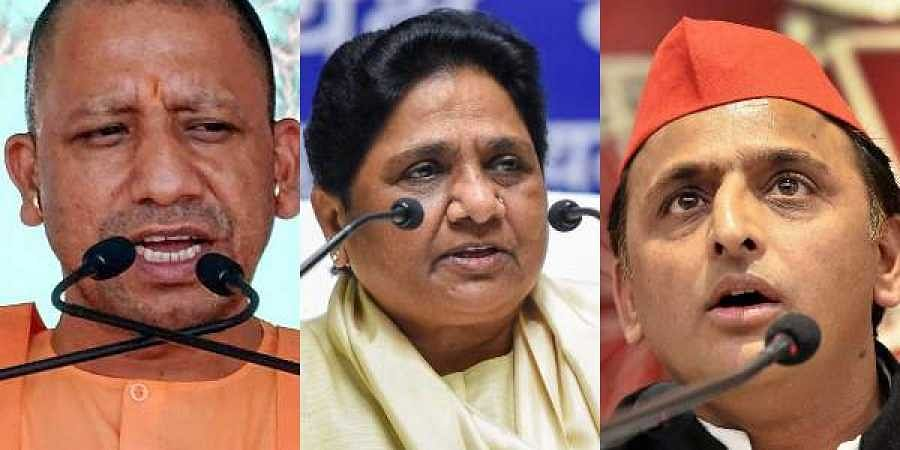 Uttar Pradesh CM Yogi Adityanath(L), BSP chief Mayawati(C) and SP chief Akhilesh Yadav
