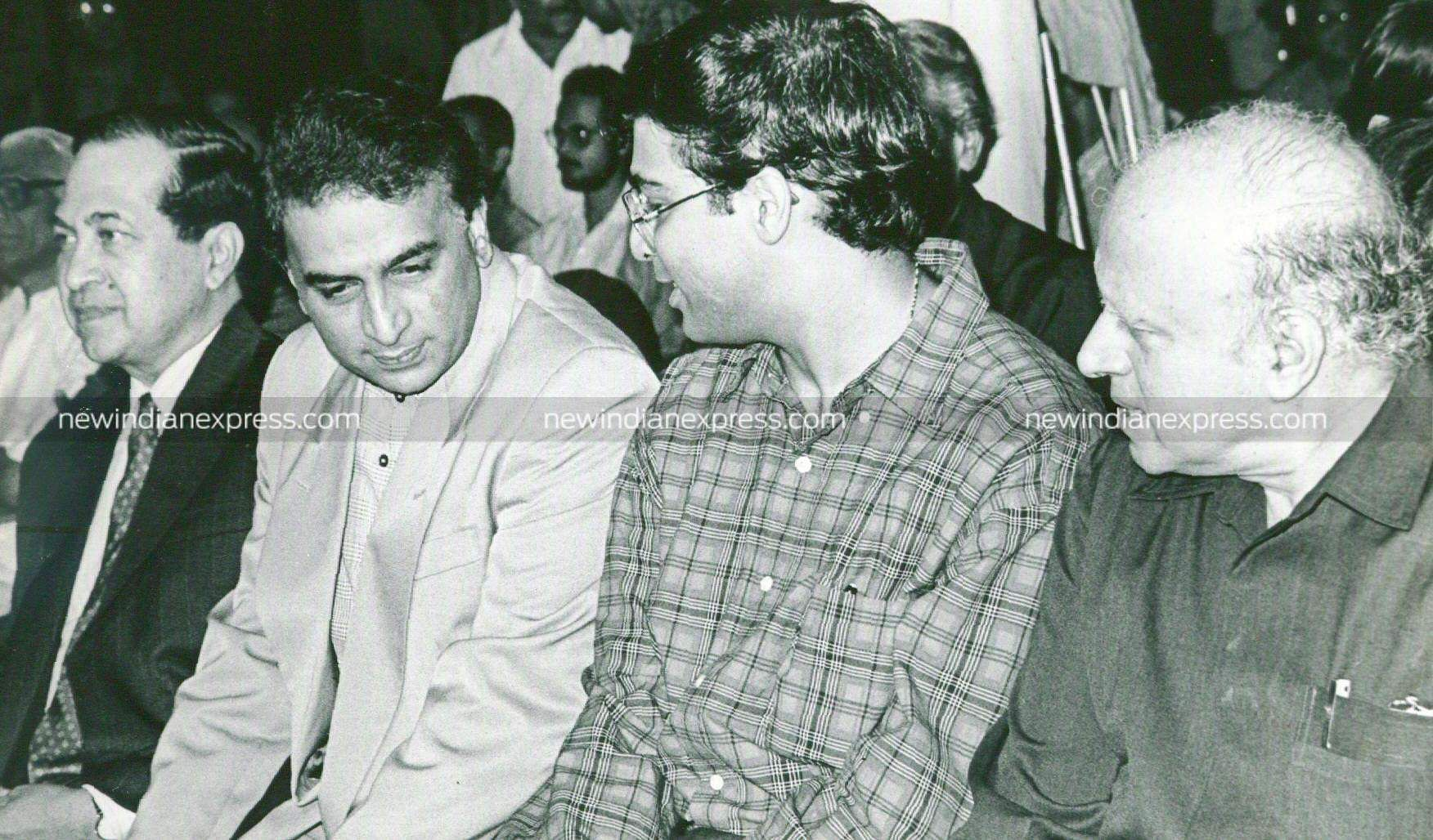 Sunil Gavaskar, former Indian cricketer (second from left). Also seen are Ram, editor of The Hindu (to his right) and chess maestro Vishwanathan Anand (to his left).
