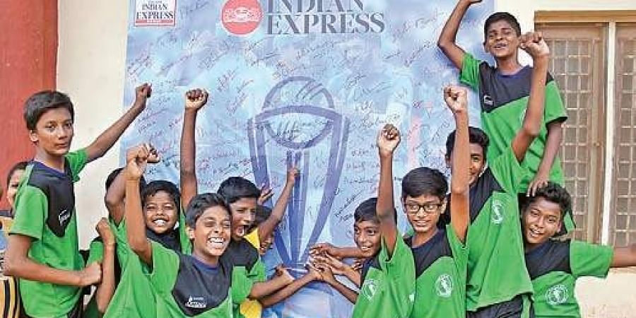 Youths take part in a campaign in the city for Team India's success in ICC World Cup.
