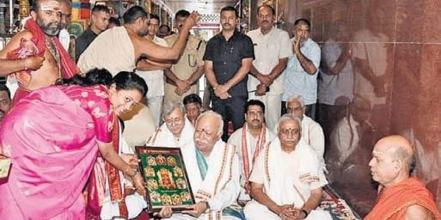 RSS chief Mohan Bhagwat visits Goddess Kanaka Durga temple in Vijayawada.