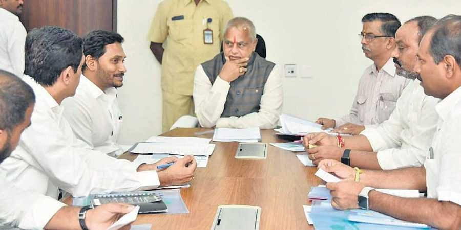 Chief Minister Jagan Mohan Reddy and Assembly Speaker Tammineni Sitaram during the BAC meeting at State Secretariat on Wednesday
