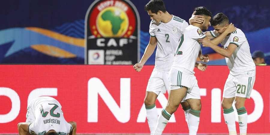 Algeria players celebrate