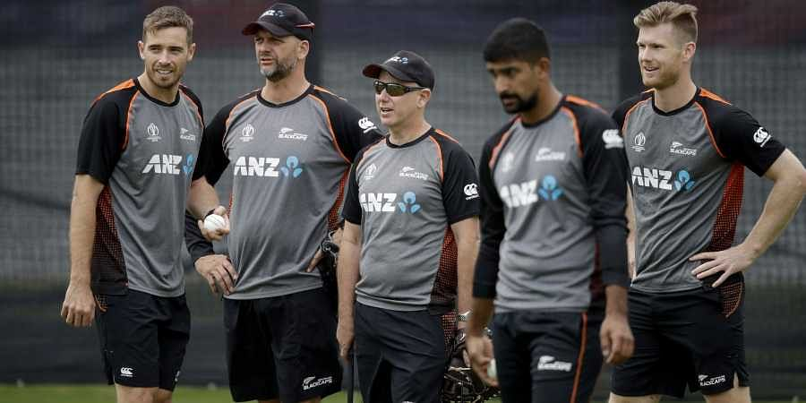 New Zealand's coach Gary Stead, centre, supervises a practice session