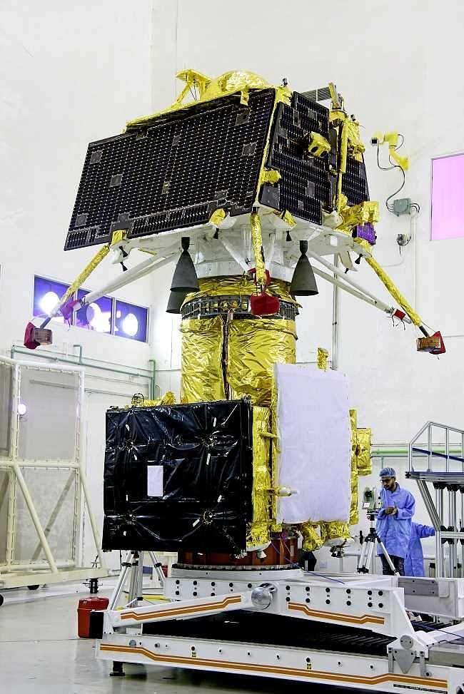 Vikram lander mounted on top of the orbiter of Chandrayaan-2 on top of the orbiter.