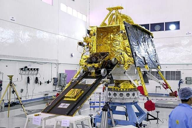 Pragyan Rover mounted on the ramp projecting from out of the sides of Vikram lander.