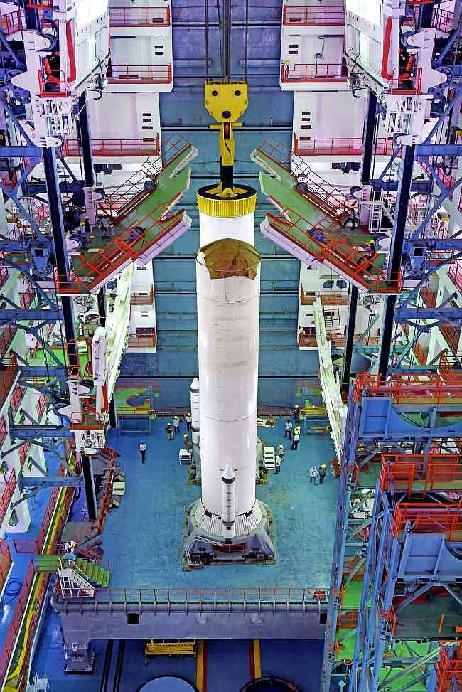 Placement of one of the S200 solid boosters of GSLV MkIII M1 vehicle on mobile launch pedestal.