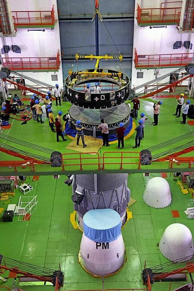 Hoisting of the equipment bay of GSLV MkIII M1 Vehicle during integration.