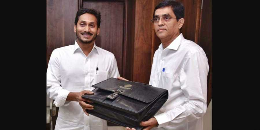 Andhra Pradesh Finance minister Buggana Rajendranath Reddy and CM YS Jagan Mohan Reddy with annual buget papers before the budget session at Secretariat in Velagapudi.