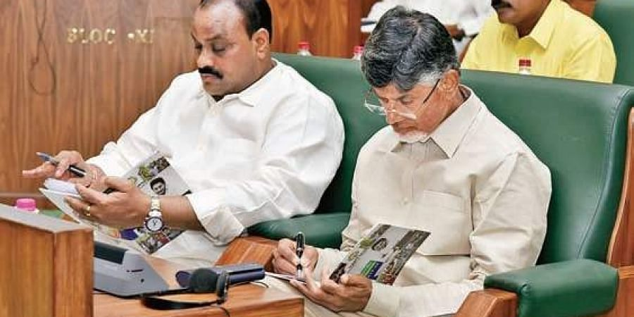 TDP president and opposition leader N Chandrababu Naidu during the budget session at the Assembly.