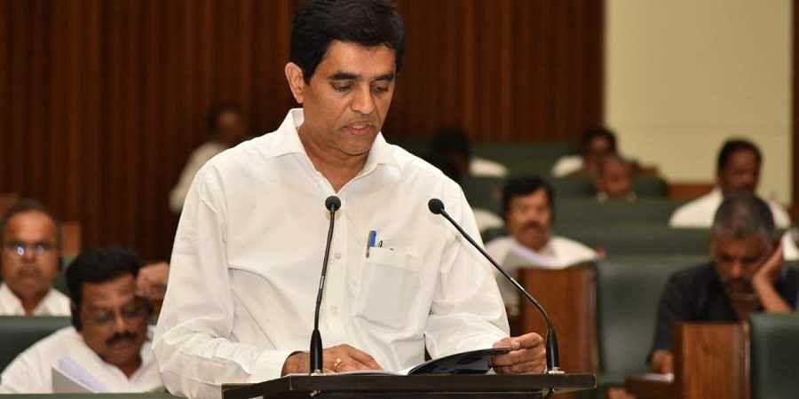 Andhra Pradesh Finance minister Buggana Rajendranath Reddy presenting annual budget at assembly in Velagapudi.