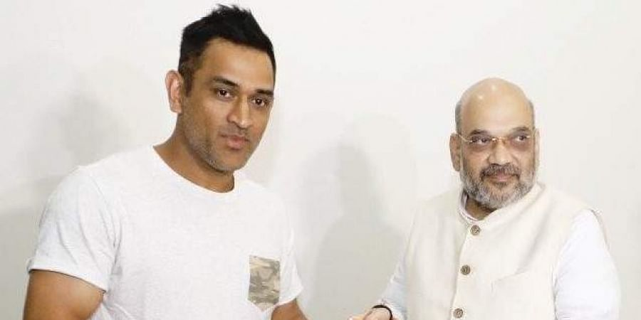 Dhoni was one of the celebrities whom BJP chief Amit Shah visited in his 'Sampark for Samarthan' programme ahead of Lok Sabha elections.