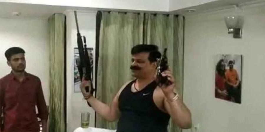 Uttarakhand MLA Kunwar Pranav Singh Champion seen dancing with guns.