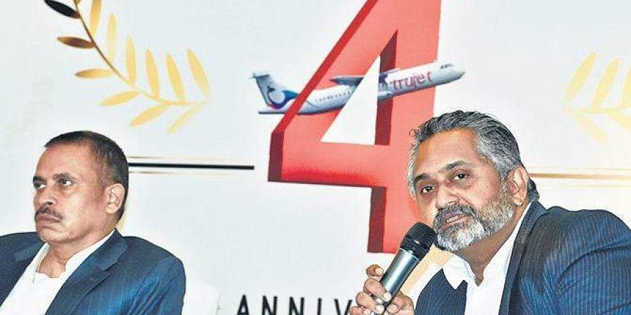 TruJet CFO KG Viswanath (R) speaks to media in Hyderabad on Friday