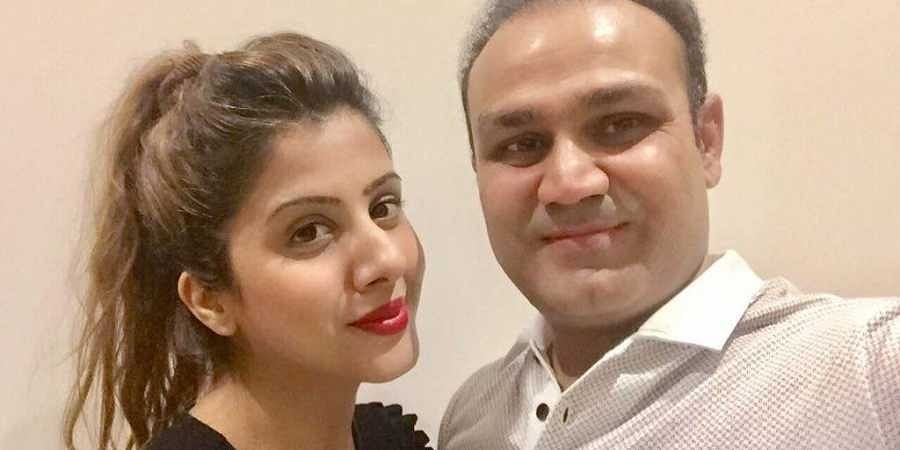 Former Indian cricketer Virender Sehwag and his wife Aarti