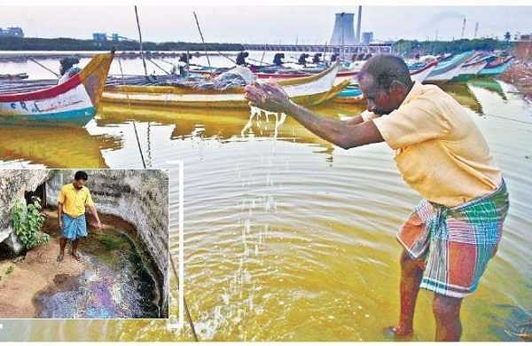 Oily effluents envelope Kosasthalaiyar river again