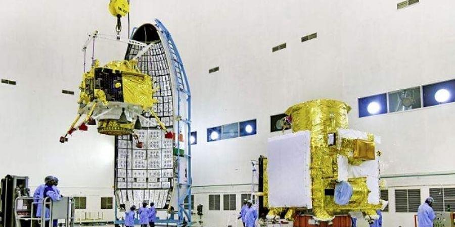 Hoisting of Vikram lander during Chandrayaan-2 spacecraft integration at launch centre.