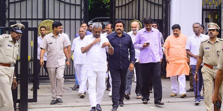 Dissident MLAs from JD S and Congress leave Raj Bhavan after meeting with Karnataka Governor Vajubhai Vala in Bengaluru Saturday