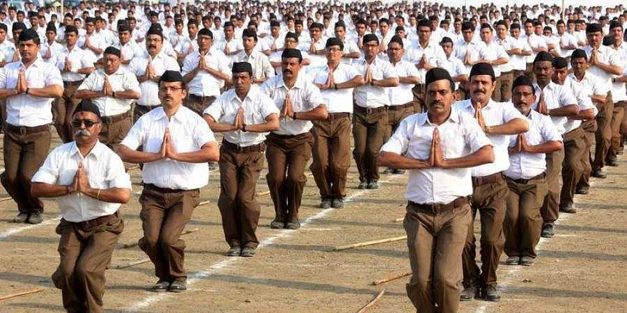 Members of the RSS during the Vijay Dashmi Utsav celebration in Nagpur, India, on Oct. 18, 2018.