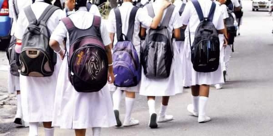 school bag, students, girl student, group, uniform, schools