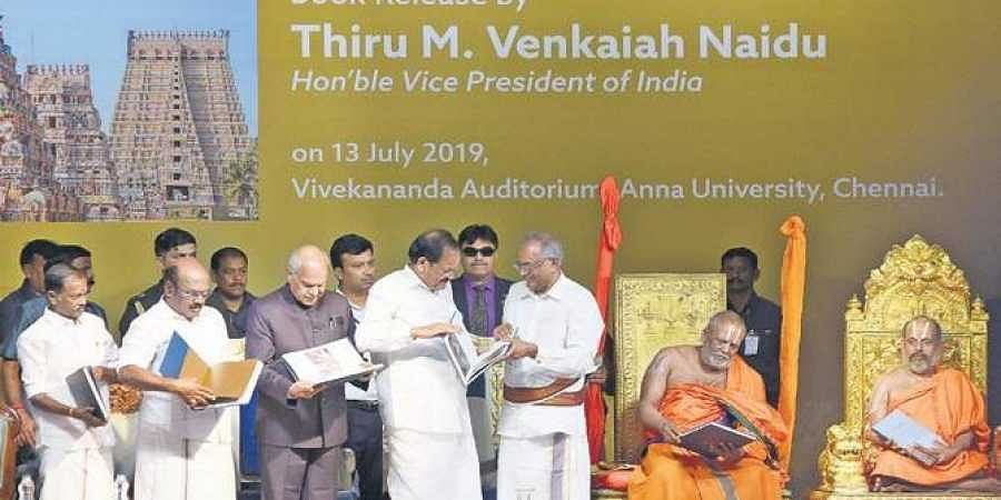 Vice-President launches book on efforts to restore Srirangam temple