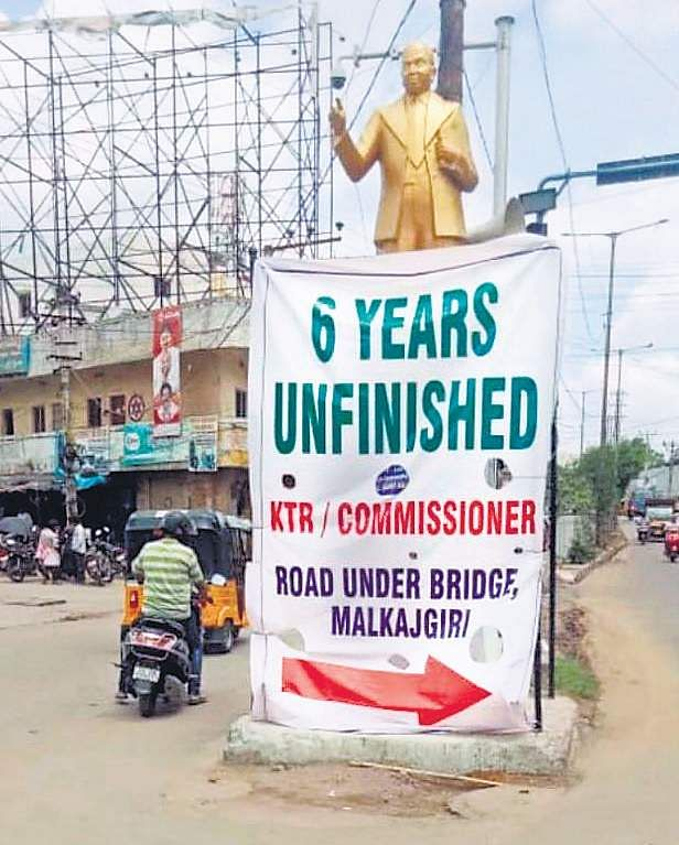 Malkajgiri residents stir peaceful protest against Greater Hyderabad Municipal Corporation failing timeline for four-lane road
