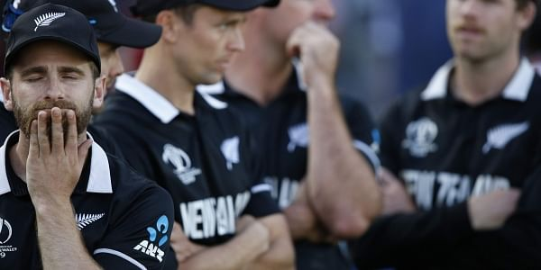 New Zealand's captain Kane Williamson, left, reacts as he waits for the trophy presentation after losing the Cricket World Cup final match between England and New Zealand. (Photo | AP)