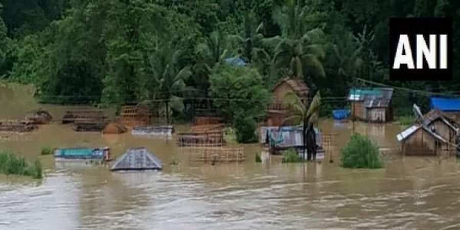 At least 32 villages in Tlabung area in south Mizoram's Lunglei district were flooded by the river Khawthlangtuipui.