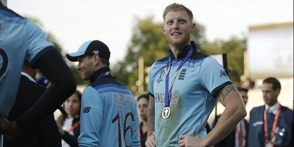 England's Ben Stokes stands on the field after the presentation after winning the Cricket World Cup final. (Photo | AP)