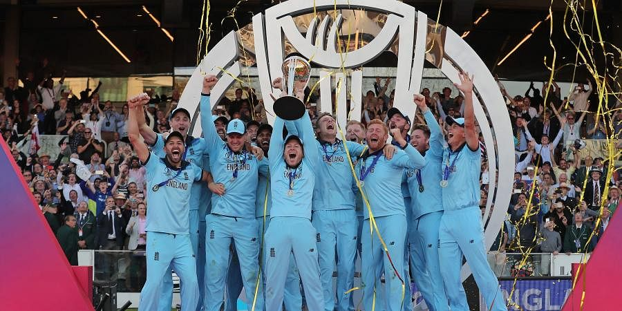 England's captain Eoin Morgan lifts the trophy after winning the Cricket World Cup final match between England and New Zealand at Lord's cricket ground in London. (Photo | AP)