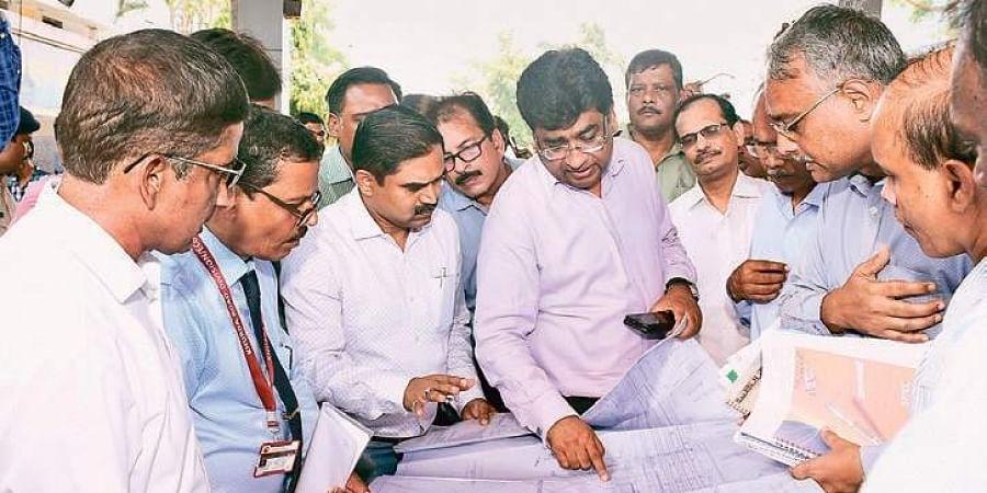 Chairman of Railway Board Vinod Kumar Yadav inspecting ongoing projects at Bhubaneswar Railway Station on Sunday.