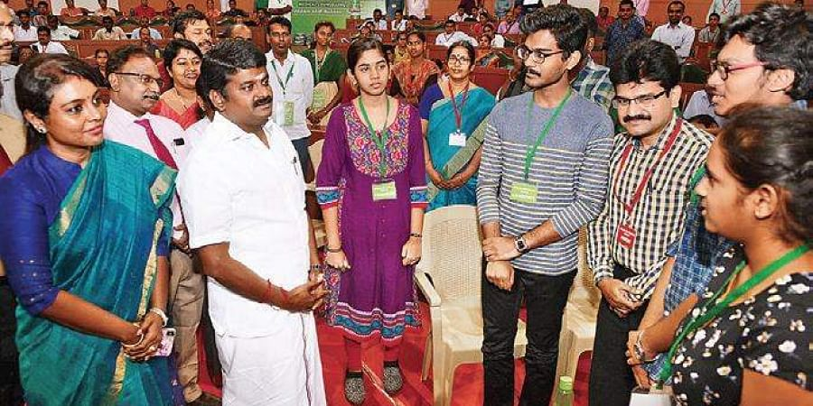 Health Minister C Vijaya Baskar interacting with parents and students who appeared for the counselling in Chennai on 10 July.