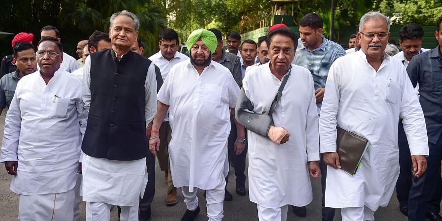 Congress Chief Ministers Ashok Gehlot of Rajasthan, Kamal Nath of Madhya Pradesh, Amarinder Singh of Punjab, Bhupesh Baghel of Chhattisgarh, and V Narayanasamy of Puducherry leave after meeting party chief Rahul Gandhi at his Tughlak Lane residence in New