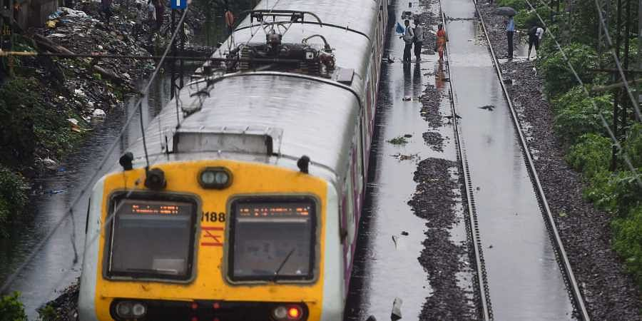 A view of the waterlogged railway tracks after heavy monsoon rain at Ghatkopar in Mumbai.