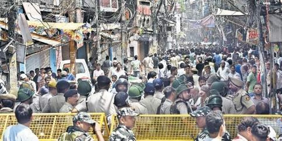 Heavy police deployment at Chawri Bazar area of Old Delhi after a mob allegedly vandalised a small temple in the area.