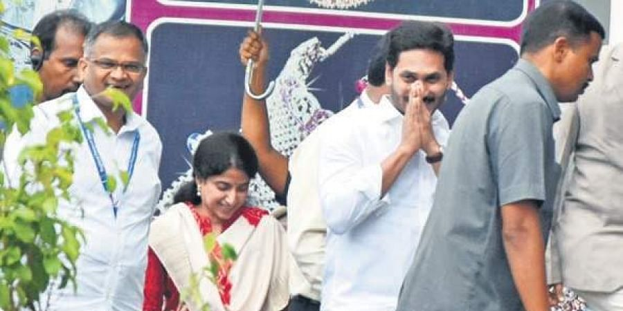 Chief Minister YS Jagan Mohan Reddy, along with his wife YS Bharathi, visiting the Regional Passport Seva Kendra in Vijayawada on Saturday to obtain diplomatic passport.