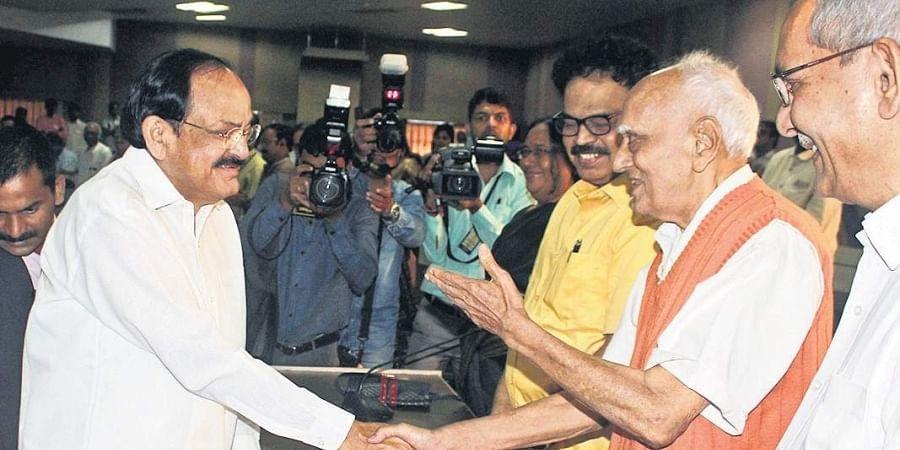 Vice-President Venkaiah Naidu at the centenary celebrations of Gora Sastri in Hyderabad on Saturday.