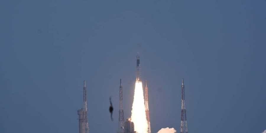 ISRO's GSLVMkIII carrying Chandrayaan-2 lifts off from Satish Dhawan Space center in Sriharikota on 22 July 2019. (Photo | Ashwin Prasath, EPS)