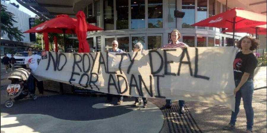 Protestors reminding  remind everyone that Adani should not receive public subsidies.