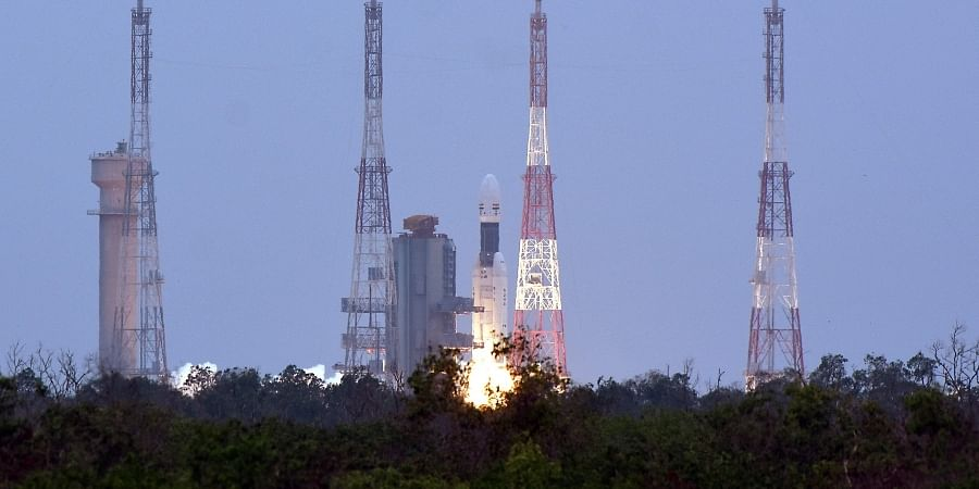India s second Moon mission Chandrayaan-2 lifts off onboard GSLV Mk III-M1 launch vehicle.