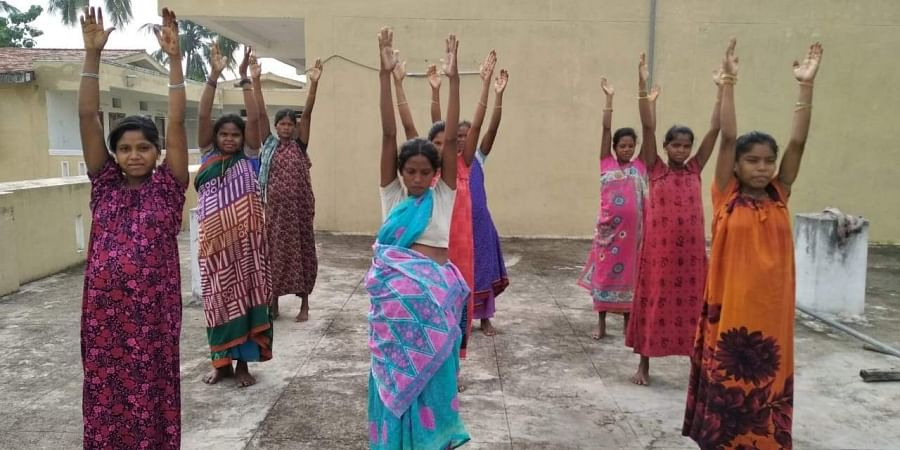 Pregnant women performing exercise at pregnant women hostel in Saluru Vizianagaram