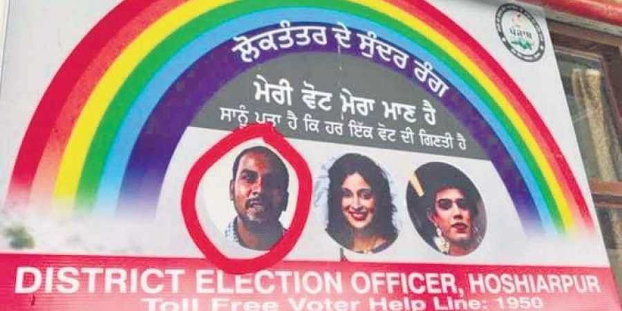 """The poster, published in Punjabi, roughly translates to; """"Colours of democracy; My vote is my dignity; We know that every vote counts"""""""
