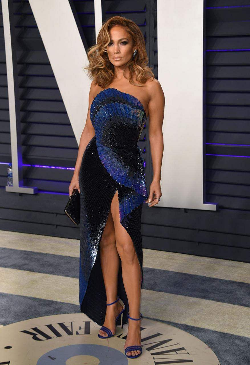 Jennifer Lopez looks radiant at the Vanity Fair Oscar Party in Beverly Hills, California.