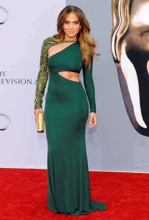Jennifer Lopez Green Long Sleeve Formal Dress BAFTA 2011 Red Carpet.