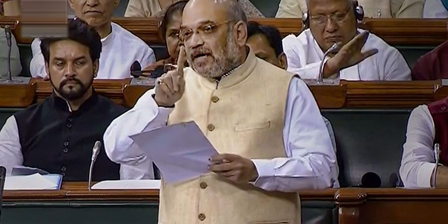 Union Home Minister Amit Shah speaks in the Lok Sabha during the Budget Session of Parliament in New Delhi.