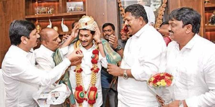 BC leaders felicitate CM YS Jagan Mohan Reddy at the Assembly for setting  up a permanent BC Commission