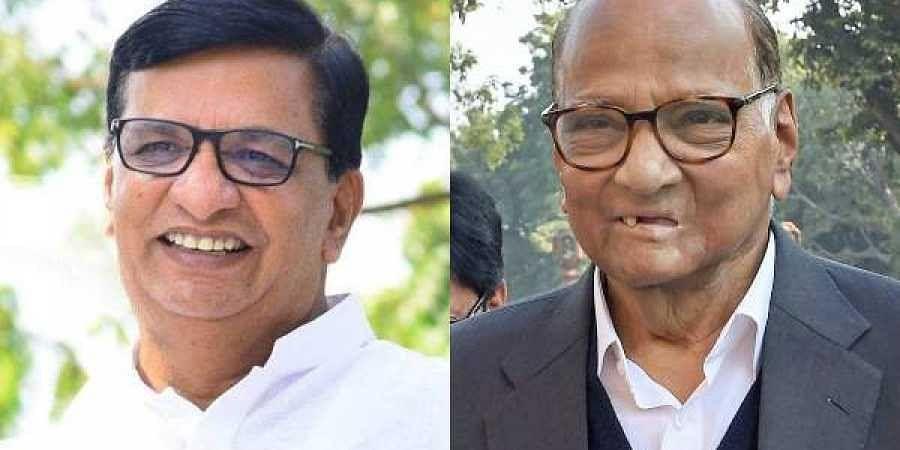 Maharashtra Congress chief Balasaheb Thorat(L) and NCP chief Sharad Pawar